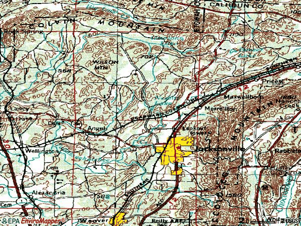 Zip code 36265 topographic map
