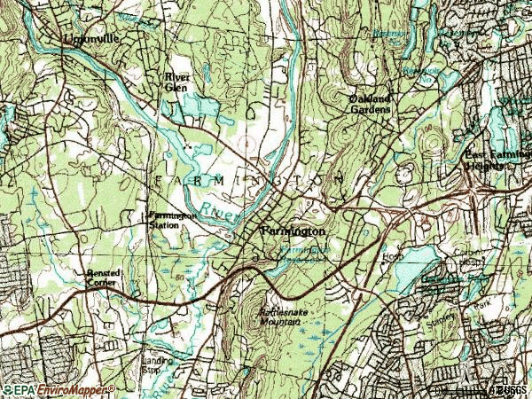 Zip code 06032 topographic map