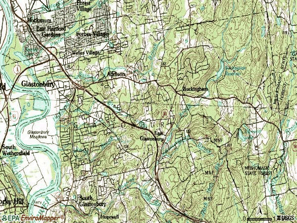 Zip code 06033 topographic map