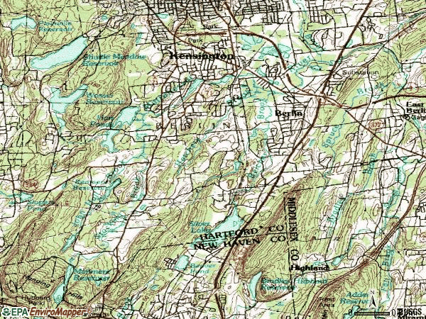 Zip code 06037 topographic map