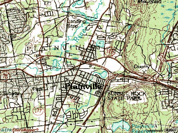Zip code 06062 topographic map