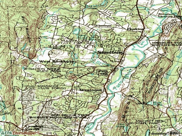 Zip code 06070 topographic map