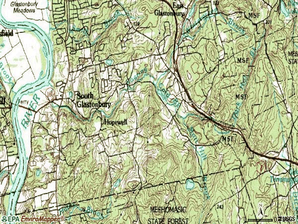 Zip code 06071 topographic map