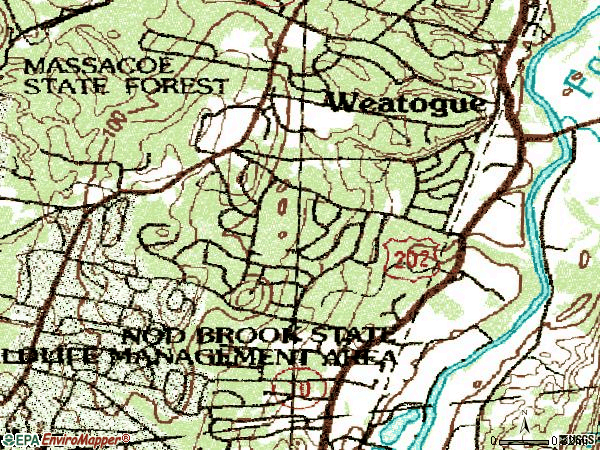 Zip code 06089 topographic map