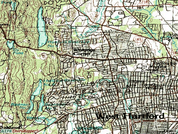 Zip code 06117 topographic map
