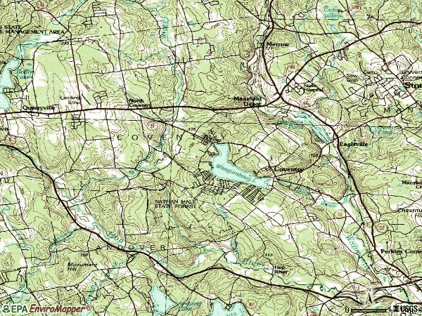 Zip code 06238 topographic map