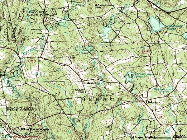 Zip code 06248 topographic map