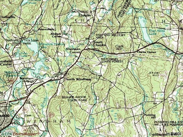 Zip code 06256 topographic map