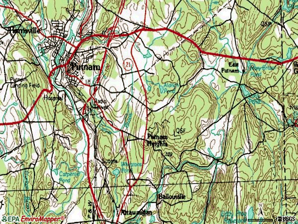 Zip code 06260 topographic map