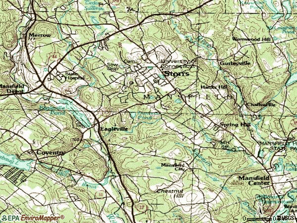 Zip code 06268 topographic map
