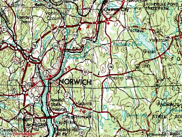 Zip code 06360 topographic map