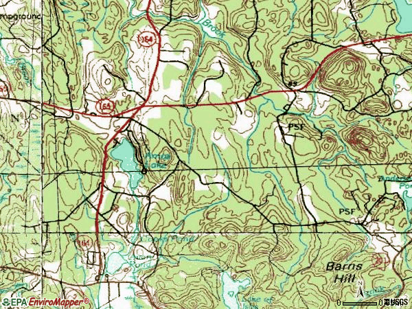 Zip code 06365 topographic map