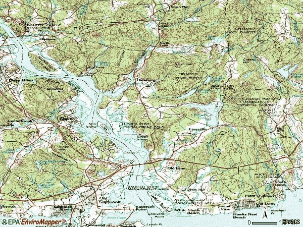 Zip code 06371 topographic map