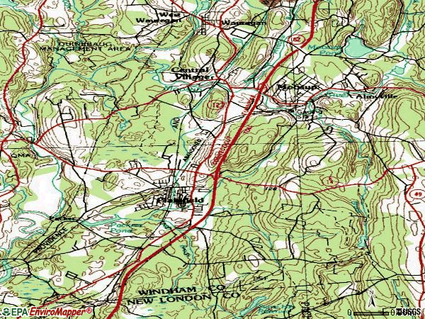 Zip code 06374 topographic map