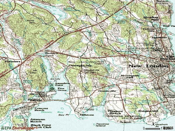 Zip code 06385 topographic map