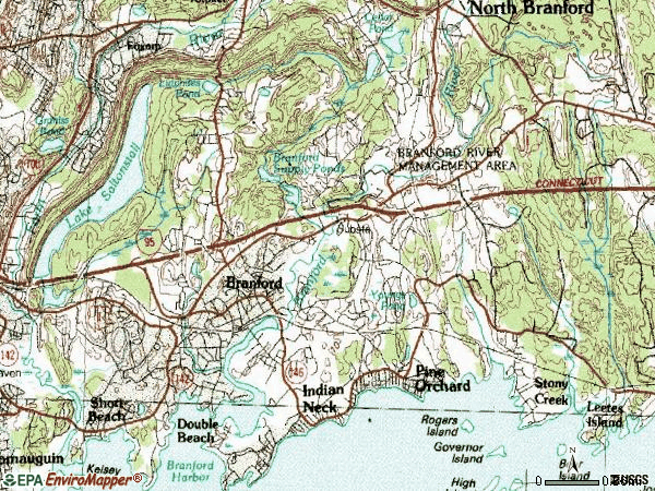 Zip code 06405 topographic map