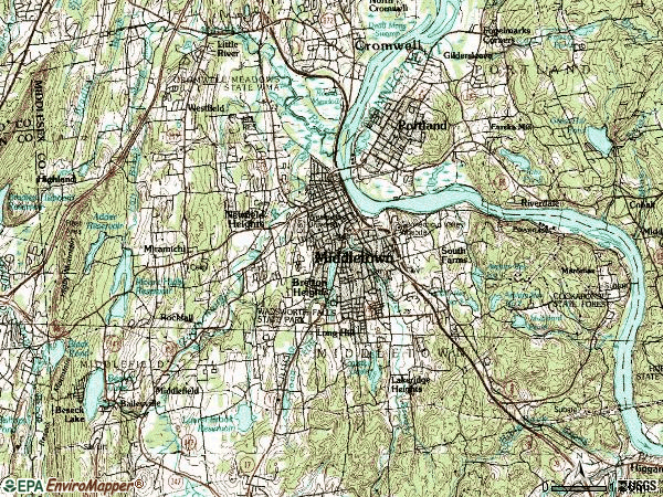 Zip code 06457 topographic map