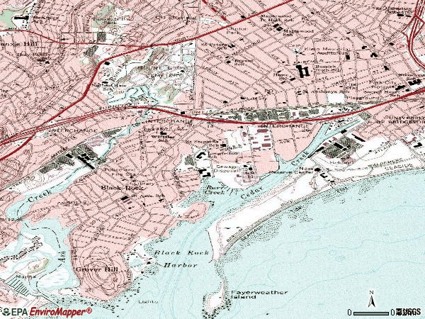 Zip code 06605 topographic map