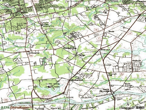 Zip code 19701 topographic map