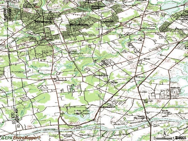 Zip code 19702 topographic map