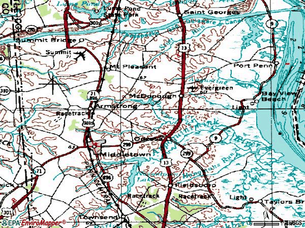 Zip code 19709 topographic map