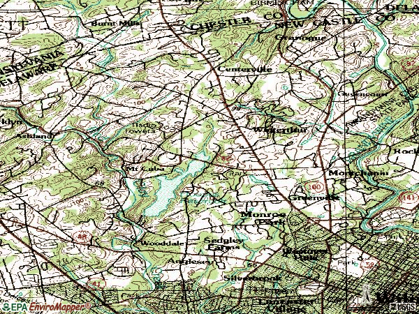 Zip code 19807 topographic map