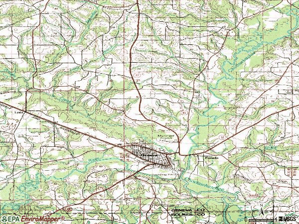 Zip code 36340 topographic map