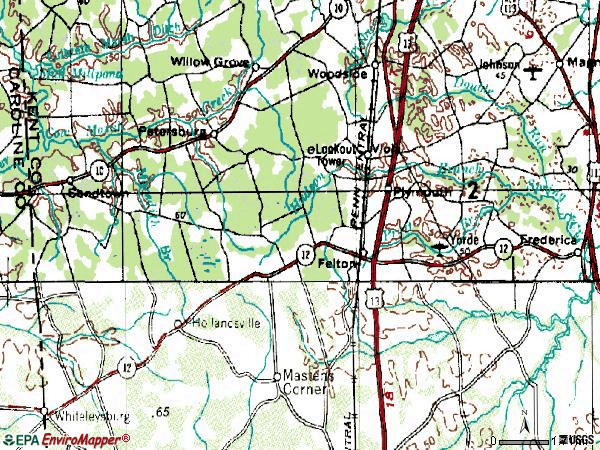 Zip code 19943 topographic map