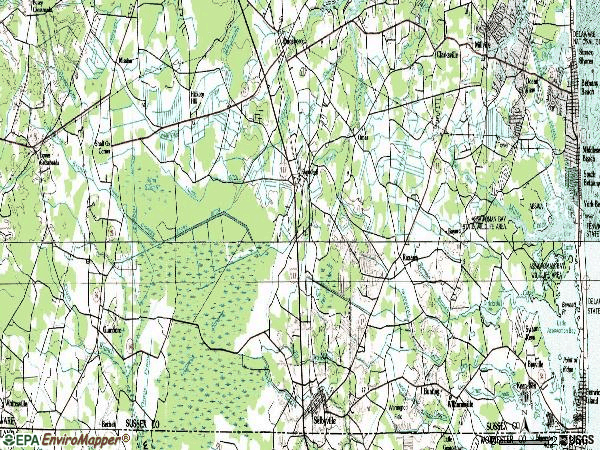 Zip code 19945 topographic map