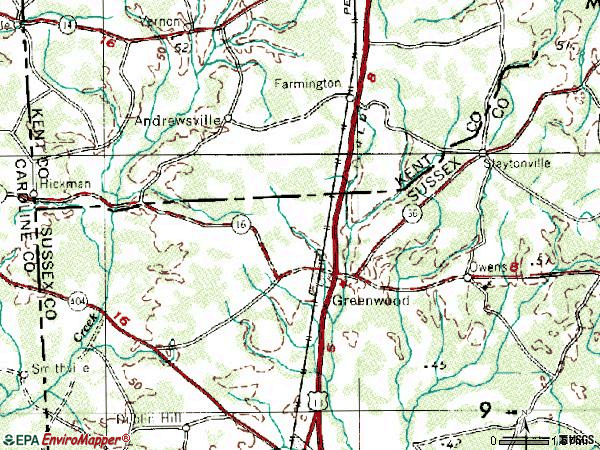 Zip code 19950 topographic map