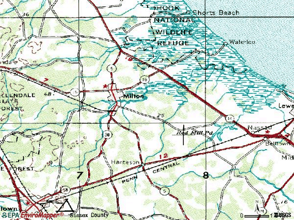 Zip code 19968 topographic map