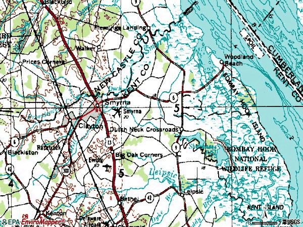 Zip code 19977 topographic map