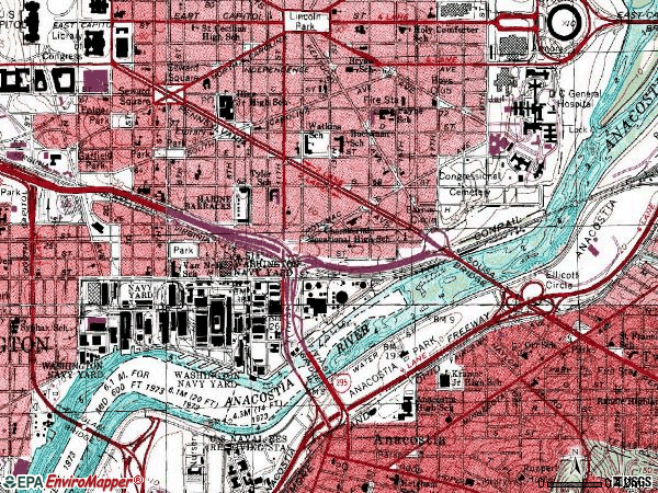 Zip code 20004 topographic map
