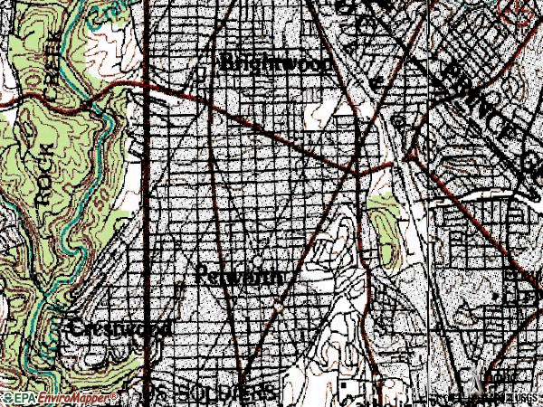 Zip code 20011 topographic map