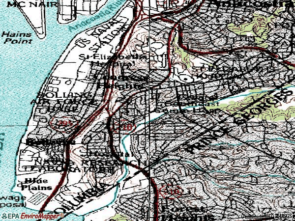 Zip code 20032 topographic map