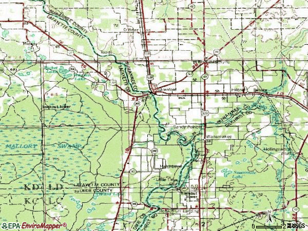 Zip code 32008 topographic map