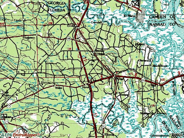 Zip code 32097 topographic map
