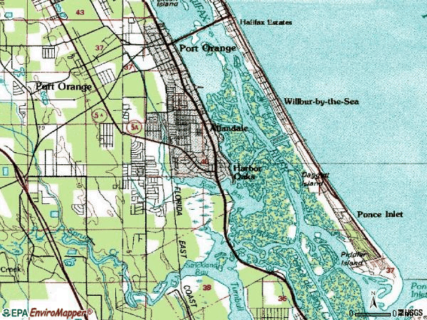 Zip code 32127 topographic map