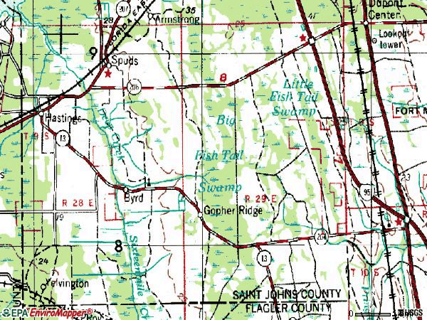Zip code 32145 topographic map