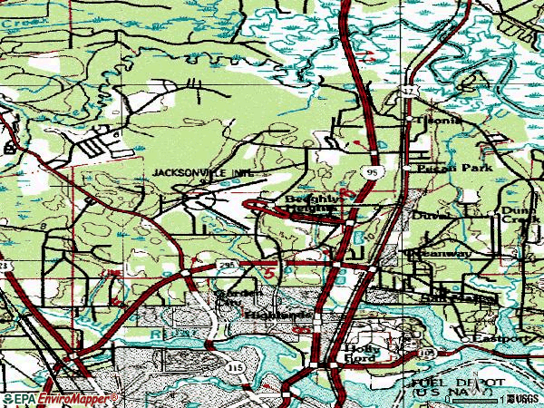 Zip code 32218 topographic map