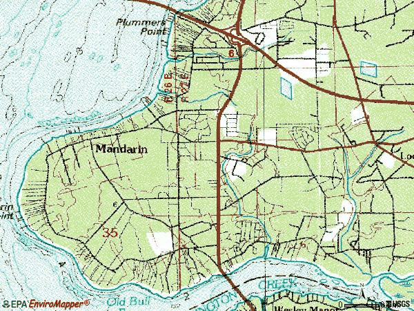 Zip code 32223 topographic map