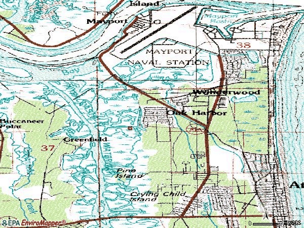 Zip code 32233 topographic map