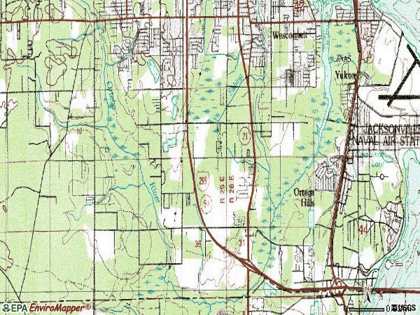 Zip code 32244 topographic map