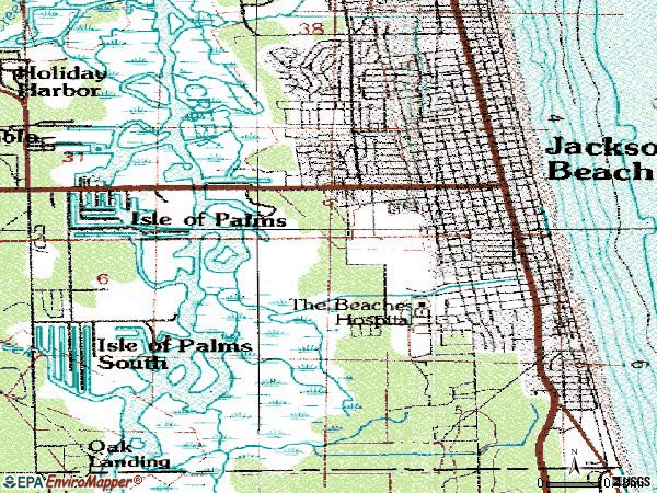 Zip code 32250 topographic map
