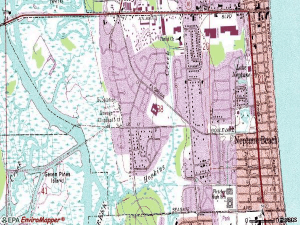Zip code 32266 topographic map
