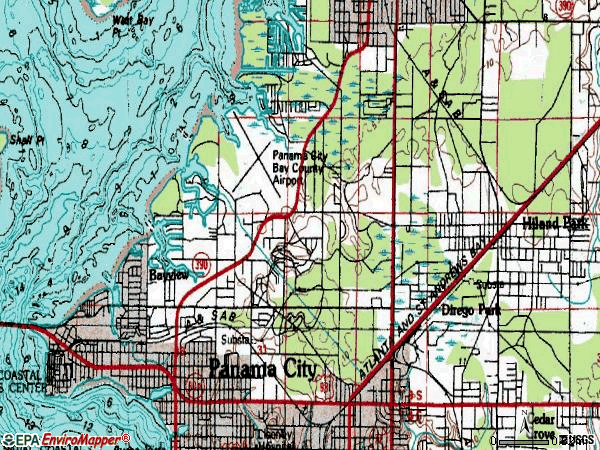 Zip code 32405 topographic map