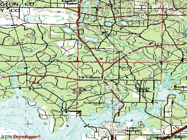 Zip code 32409 topographic map