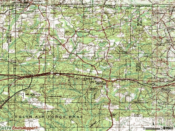 Zip code 32433 topographic map