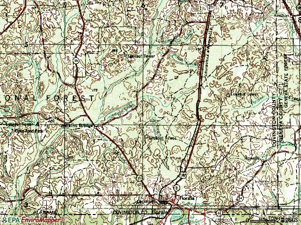 Zip code 36442 topographic map