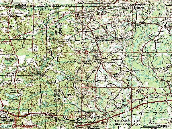 Zip code 32464 topographic map
